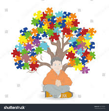 child sitting tree puzzle pieces stock vector 537707062