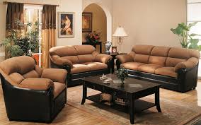 Home Decor Sofa Set Living Room Interior Designs With Black Leather Mixed Brown Velvet