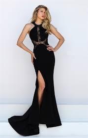 mermaid high slit black satin lace prom dress