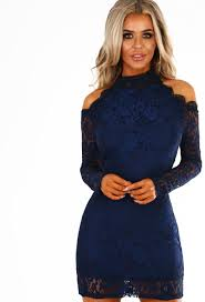 city sass navy lace cold shoulder long sleeve mini dress pink