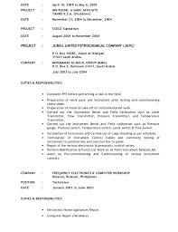 Sample Pilot Resume by Instrument Technician For Maintenance New