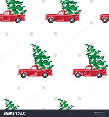 Christmas Tree Pick Up Seamless Pattern Red Car Christmas Tree Stock Vector 348203351