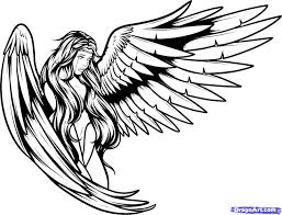 fallen angel clipart outline pencil and in color fallen angel