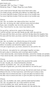 Blind To You Lyrics Old Time Song Lyrics For 34 Brother Joe