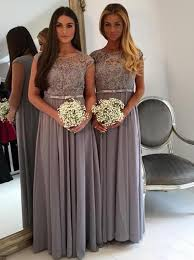 gray bridesmaid dress buy a line scoop cap sleeves bridesmaid dress with sash