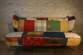 tissu ameublement canapé canapé vintage patchwork couture au fil d eau d ile