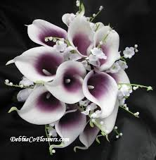 calla bouquets real touch bouquet purplewhite calla of the valley