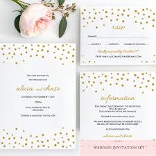 Wedding Invitation Acceptance Card Gold Confetti Rsvp Card Template Wedding Printable Rsvp Card