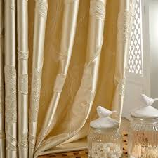White Gold Curtains Luxury Floral Gold Jacquard Curtains In Living Room
