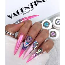 pink stiletto nails with swarovski crystals nail design by