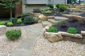 architecture home landscaping idea with small rock garden feat
