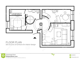 Furniture In The Bathroom Architectural Plan Of A House Layout Of The Apartment Top View