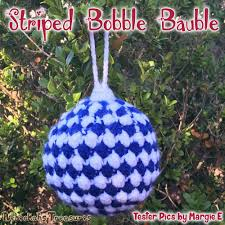 striped bobble bauble christmas ornament rebeckah u0027s treasures