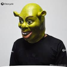 mask for halloween party green shrek latex masks movie cosplay prop animal party mask