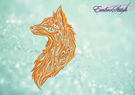 flaming fox embroidery design 3 sizes 8 formats embrostitch