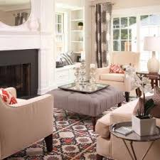 Mantel Topiaries - minneapolis tufted round ottoman living room contemporary with