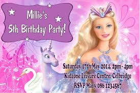 Christening And Birthday Invitation Card Personalised Barbie Invitations