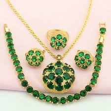 green stone necklace pendant images Buy wpaitkys trendy green stone gold color jpg