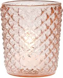 Wholesale Home Decor For Resale by Diamond Motif Vintage Tealight Candle Holder 3 Inch Pink