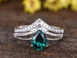 1 1 carat pear shaped garnet wedding set engagement ring