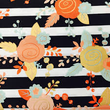gold and pastel floral on stripes fabric metallic gold coral