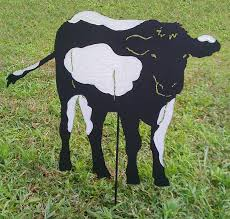 cow garden stake or wall hanging holstein friersia dairy