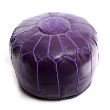 Leather Moroccan Ottoman by Purple Moroccan Pouf Leather Ottoman At Beldinest