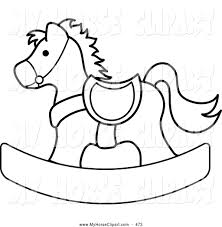 clip art of a coloring page outlined children u0027s rocking horse by