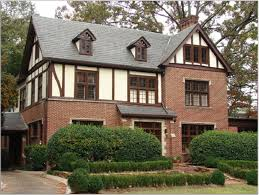 simple tudor style architecture idea with brown brick wall gray