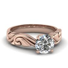 Solitaire Wedding Rings by Rose Gold Round White Diamond Solitaire Engagement Wedding Ring In