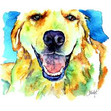 golden retriever portrait painting by christy freeman