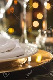 elegant dinner setting abstract macro background stock photo