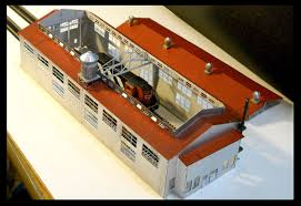 micron art 1087 z scale two stall engine house kit