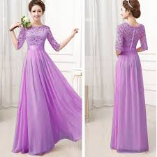 bridesmaid chiffon lace long wedding cocktail prom evening