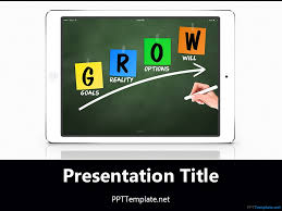 free ipad grow chalkhand white ppt template