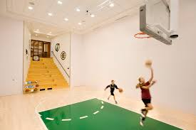 Basketball Courts With Lights Boston Home Indoor Basketball Gym Traditional With Half Court