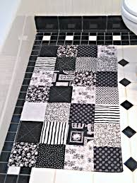 Black And White Bathroom Rugs Black And White Bathroom Rug Patchwork Bath Mat Shower Mat