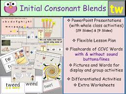 phonics initial consonant blend tw ccvc words presentations