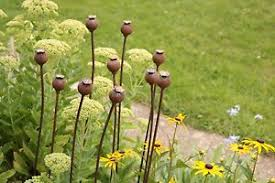 metal poppy seed decorative garden rusted stake plant support