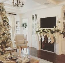Elegant Christmas Decorating Ideas 2015 by Elegant White Christmas Family Room Details Flocked Christmas