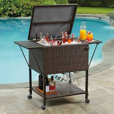 Patio Table Cooler by Amazon Com Stratford Insulated Cooler Cart All Weather Wicker