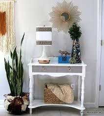 White Foyer Table Boho Yarn Wall Art And Foyer