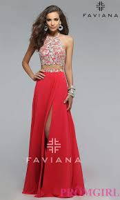two piece long embroidered top dress promgirl