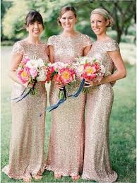 gold bridesmaid dresses chic mermaid floor length cap sleeves sequins gold bridesmaid