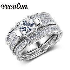 engagements rings online images Vecalon full princess cut 10ct simulated diamond cz 3 in 1 jpg