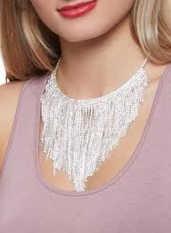 rhinestone collar necklace images Rhinestone fringe collar necklace with stud earrings rainbow jpg