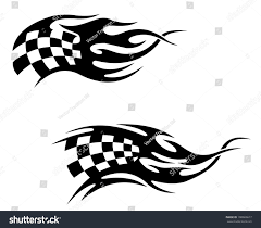 checkered flag black flames racing motocross stock vector