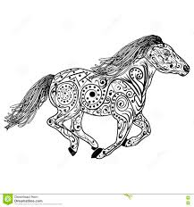 hand drawn horse isolated on white anti stress coloring page