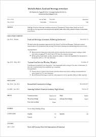 Resume Job Accomplishments Examples by 7 Food And Beverage Attendant Resume Samples Resumeviking Com