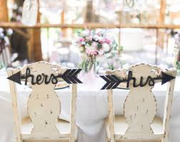 his and hers wedding chairs his hers arrows wedding decor chair back signs